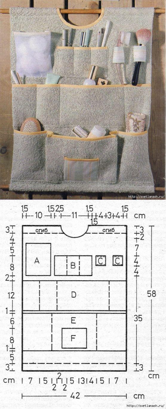 Органайзер для ванной шьем сами.. | tejido | Pinterest | Costura ...