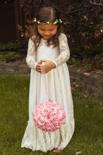 LONG SLEEVE LACE MAXI DRESS | FlowerGirls | Flower Girls Couture | StyleMePretty | Lookbook