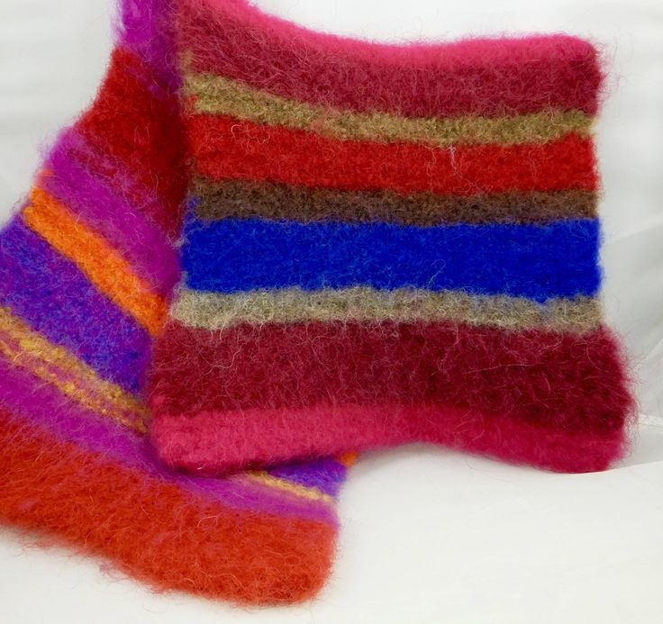 Razzle Dazzle Wool Felted Hot Pads/Trivets, Soft and Thick, Hand Knit, Hostess Gifts, Insulators, Potholders, Kitchen Decor, Housewares by timetalentjewels on Etsy