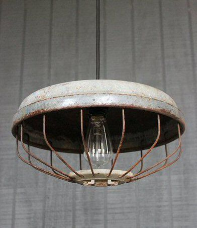 Vintage Industrial Pendant Lighting, Upcycled Chicken Feeder Hanging Light Fixture, Rustic Farmhouse Ceiling Fixture  V-145 on Etsy, $165.00