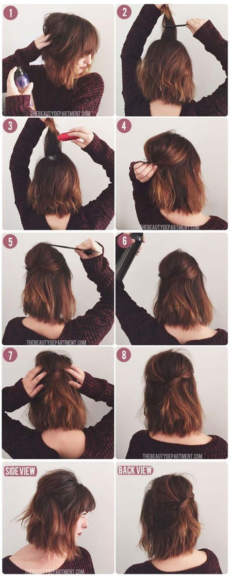 Short Hair Styles You Can Do In 10 Minutes or Less - Short Stack - Easy Step By Step Tutorials For Growing Out Your Hair, For Shoulder Length Hair, Fo...
