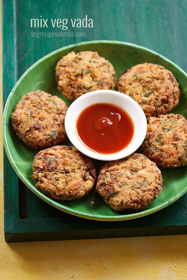 veg vada recipe - crisp vadas made with chana dal and chopped mix veggies.  #vada
