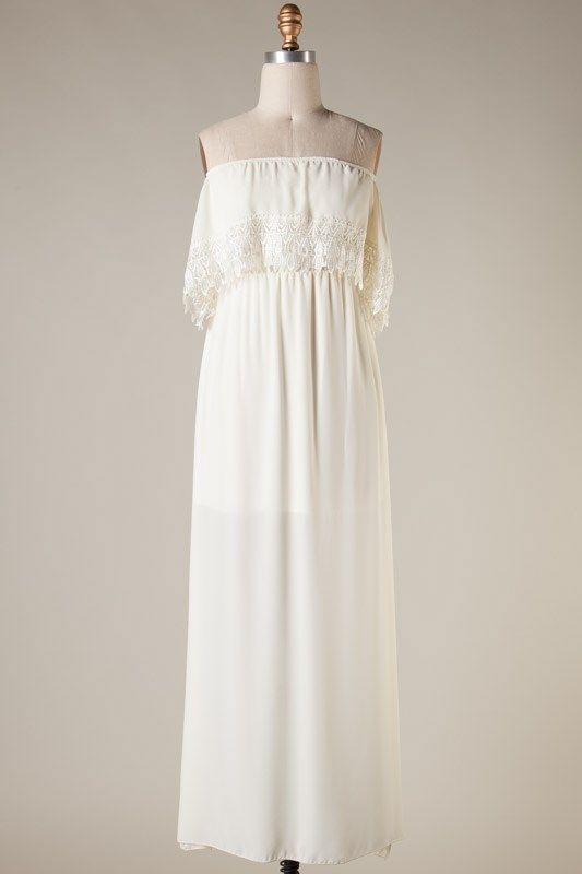 Crochet off the shoulder maxi dress