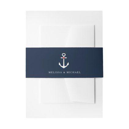 Navy Blue Nautical Yacht Invitation Belly Bands Invitation Belly Band  $15.80  by stylelily  - cyo customize personalize diy idea