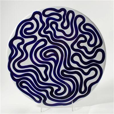 Sol LeWitt, Swirl Platter, designed 1984  hand-painted maiolica cobalt against a light-grey background