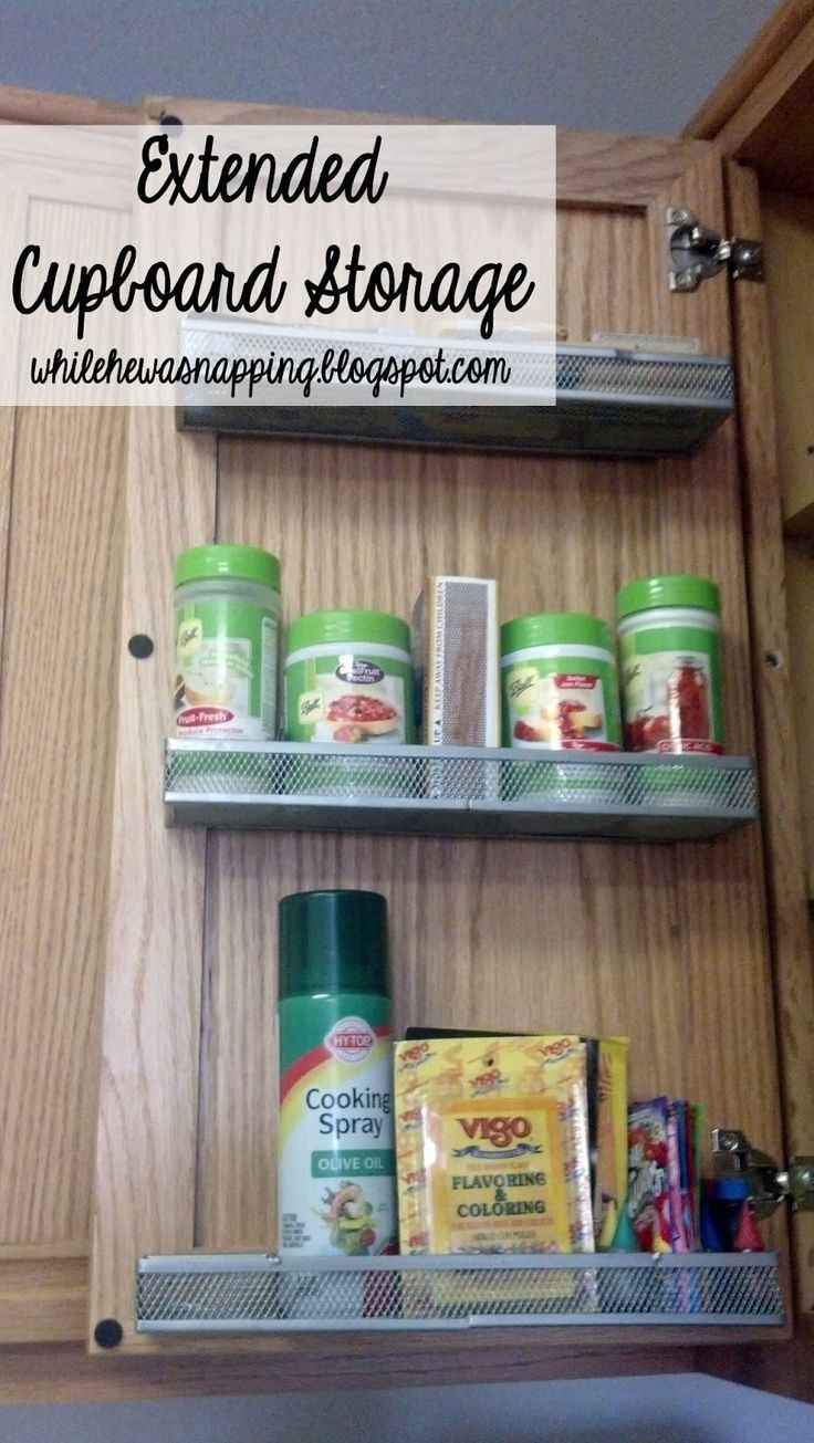 Cupboard Baskets.  Expand the viewable space in your cupboards.  $1/basket  #organize