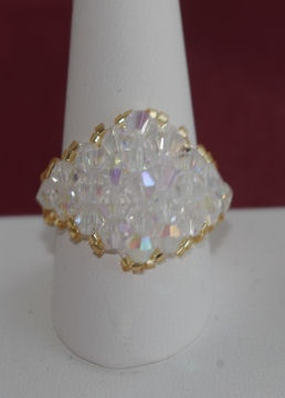 Crystal ring. Available in over 100 colors. Goldtone or silvertone $25.00