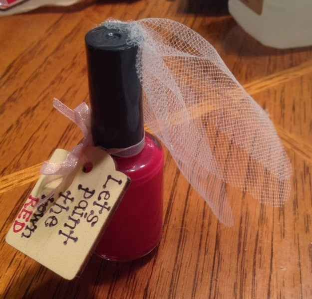 Or this super easy touch to regular nail polish with a DIY tag. | 21 Easy Ways To Make A Bachelorette Party Memorable
