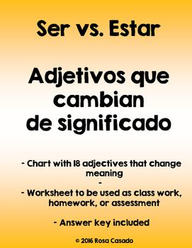 Ser vs Estar ADJECTIVES THAT CHANGE MEANING | Charts and Keys