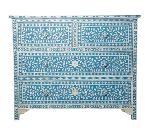 Intarsien kommode aus perlmutt steinchen style for Indische wohnaccessoires