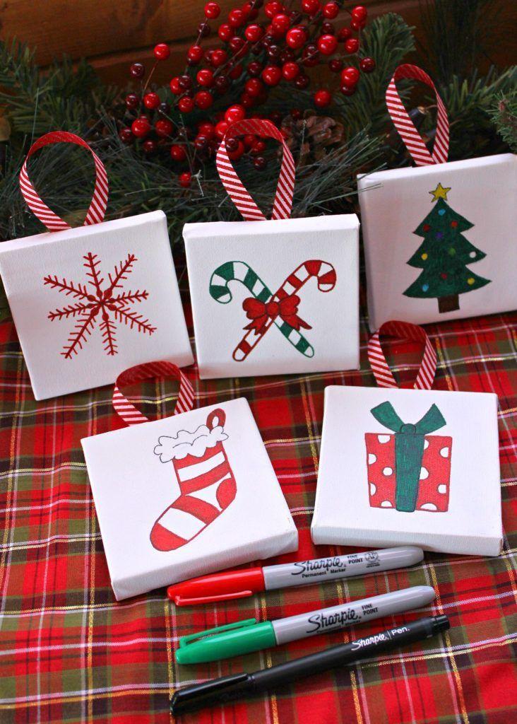 Mini Canvas Ornaments I Dig Pinterest Diy Christmas Canvas Christmas Canvas Easy Christmas Ornaments