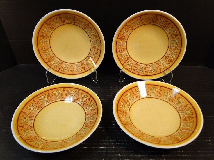"FOUR Taylor Smith Taylor Honey Gold Soup Bowls 7 1/2"" Set of 4 EXCELLENT #TaylorSmithTaylor"