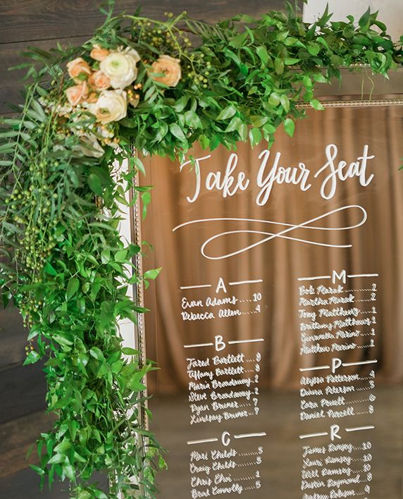 Mirror seating chart - wedding sign - floral garland - hand lettering calligraphy