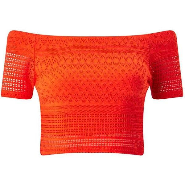 Miss Selfridge Coral Lazer Cut Bardot Top ($26) ❤ liked on Polyvore featuring tops, crop top, orange, red jersey, miss selfridge, orange crop top, coral crop top and red top