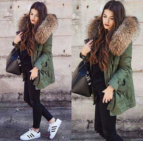 green-cargo-jacket-with-fur- adidas, Puffy and cargo jacket outfits http://www.justtrendygirls.com/puffy-and-cargo-jacket-outfits/