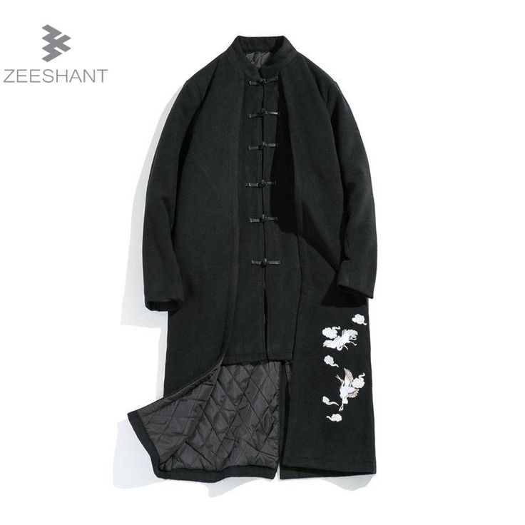 Zeeshant Wool Long Trench Jacket For Men Winter Mens Chinese Style Embroidery Overcoat Male Cardigan Slim Coat Outerwear 5XL