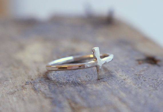Silver Cross Ring Sideways Cross Jewelry  Christian by MoodiChic