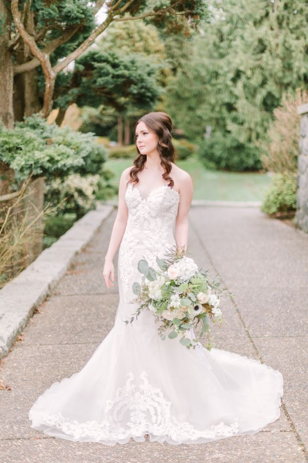 Stunning embroidered lace strapless wedding dress: http://www.stylemepretty.com/canada-weddings/british-columbia/vancouver/2016/08/03/mint-cream-mustard-wedding-color-palette/ | Photography: Kim James Photography - http://kim-james.com/