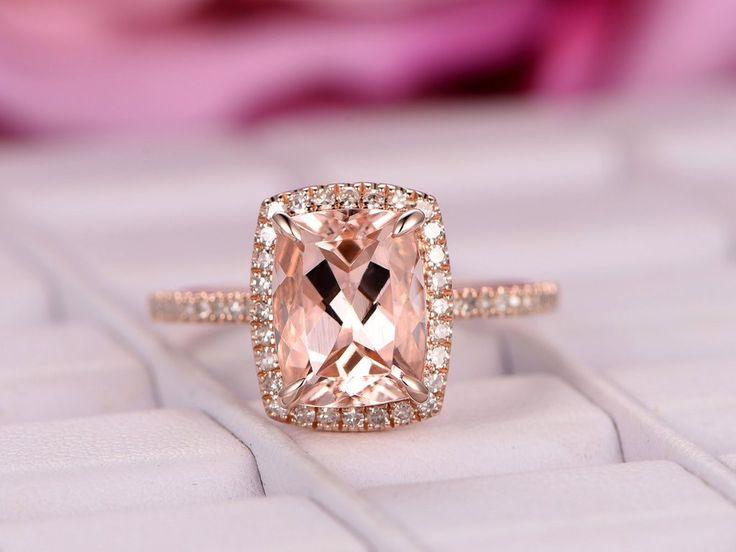 Cushion Morganite Engagement Ring Pave Diamond Wedding 14K Rose Gold 7x9mm