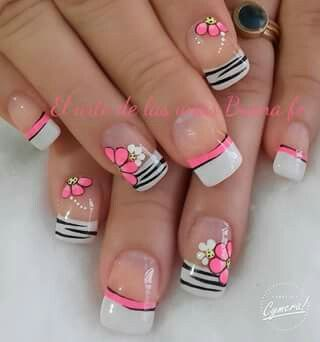 Cute. French tip. Pink. White. Black. Flower.