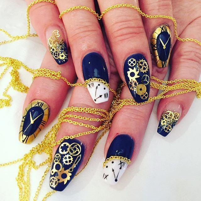 Bright Colors For New Year Nails 2019 Clock Design New Years Nail Designs New Year S Nails Steampunk Nails