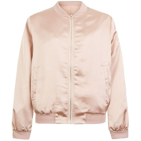 Cameo Rose Shell Pink Satin Bomber Jacket (52 AUD) ❤ liked on Polyvore featuring outerwear, jackets, shell pink, zipper jacket, satin bomber jacket, long sleeve jacket, blouson jacket and shell jacket