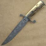 Ed Caffery Custom Knife Mastersmith Damascus & Fossilized Walrus Ivory Fighter