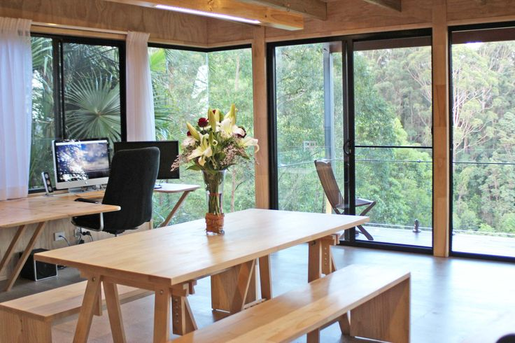 This is the bush studio in Queensland Australia. Cool office design, awesome office design, architecture office. Fantastic, Clean & Raw work space, Designed by Simon Scott SSB Design Studio - Building & Interior Design practice based at Noosa.