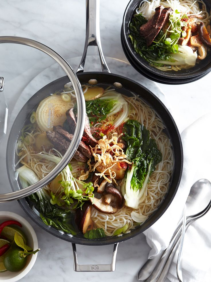 Steak and Mushrooms in Ginger-Miso Broth | Slowly simmering onions, ginger, garlic and miso paste in water creates a savory broth that is the basis for this comforting soup.