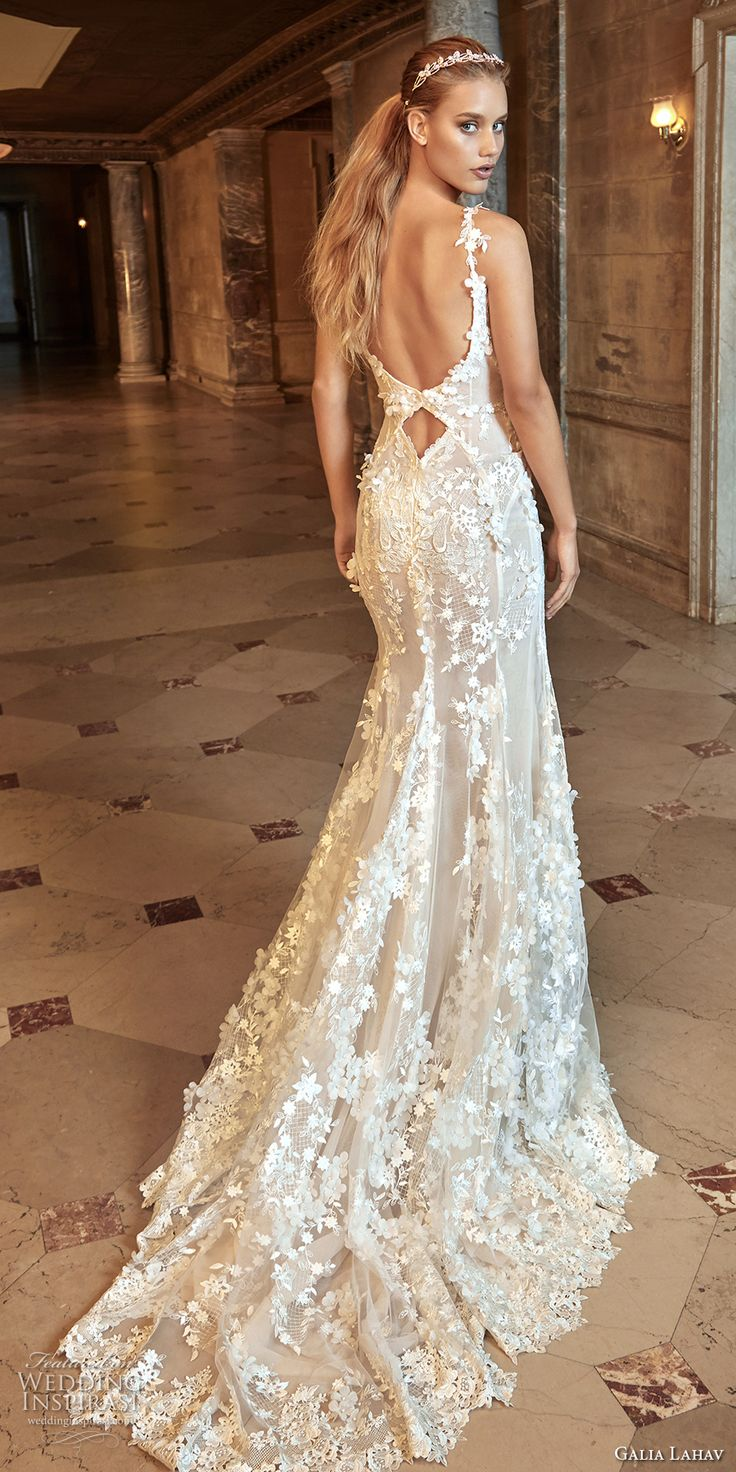 galia lahav fall 2017 bridal sleeveless thin strap sweetheart neck full embellishment elegant sexy sheath wedding dress open back chapel train (kira) bv