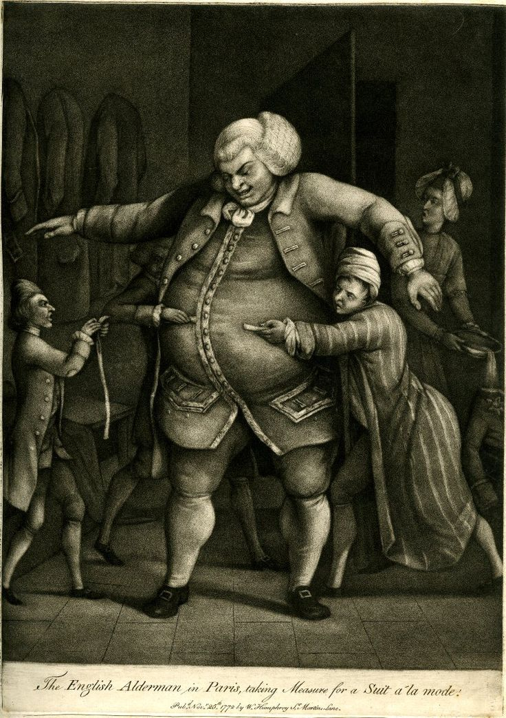 A very tall, stout man standing with arms outstretched and looking down with amusement, as two French tailors half his size struggle to measure him for a suit, while a third hurries towards them on the left with an extra strip of tape, and a thin woman entering the room in the right background, spills a dish of soup in her astonishment.  1772 Mezzotint with etching