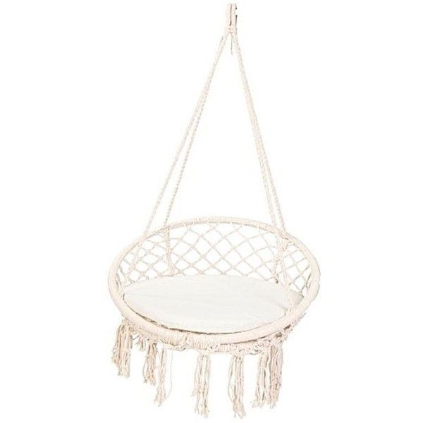 Hammocks | Macrame Swing Chair | White Bohemian Store (510 SAR) ❤ liked on Polyvore featuring home, outdoors, patio furniture, macrame swing, garden white furniture, white outdoor furniture and white patio furniture