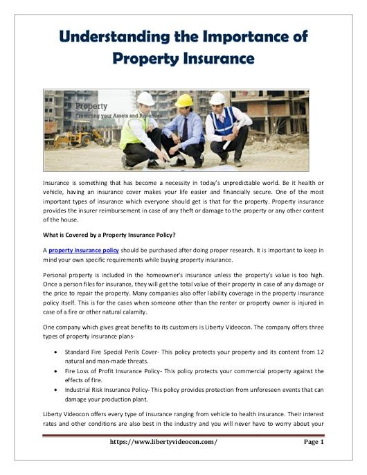 Property insurance provides the insurer reimbursement in case of any damage to the property.here you know importance of property insurance in detail. #propertyinsurance #insurance