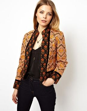 ASOS Jacket in Mixed Print with Trim Detail