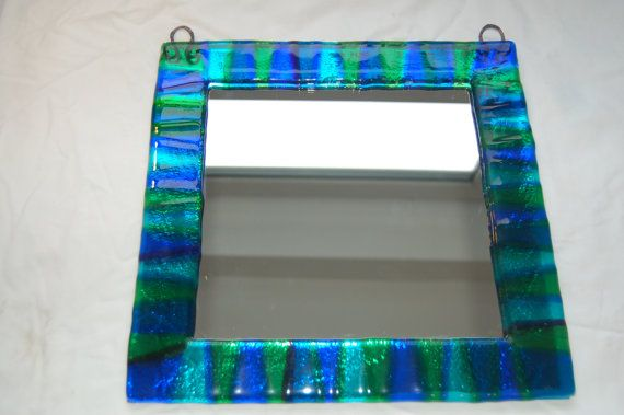 Fused glass mirrors by AndyBullGlassArt on Etsy