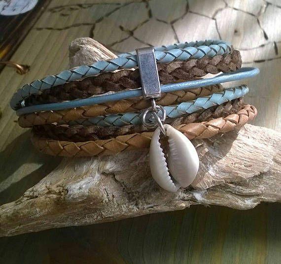 Leder Wickelarmband Kauri Muschel blau/braun