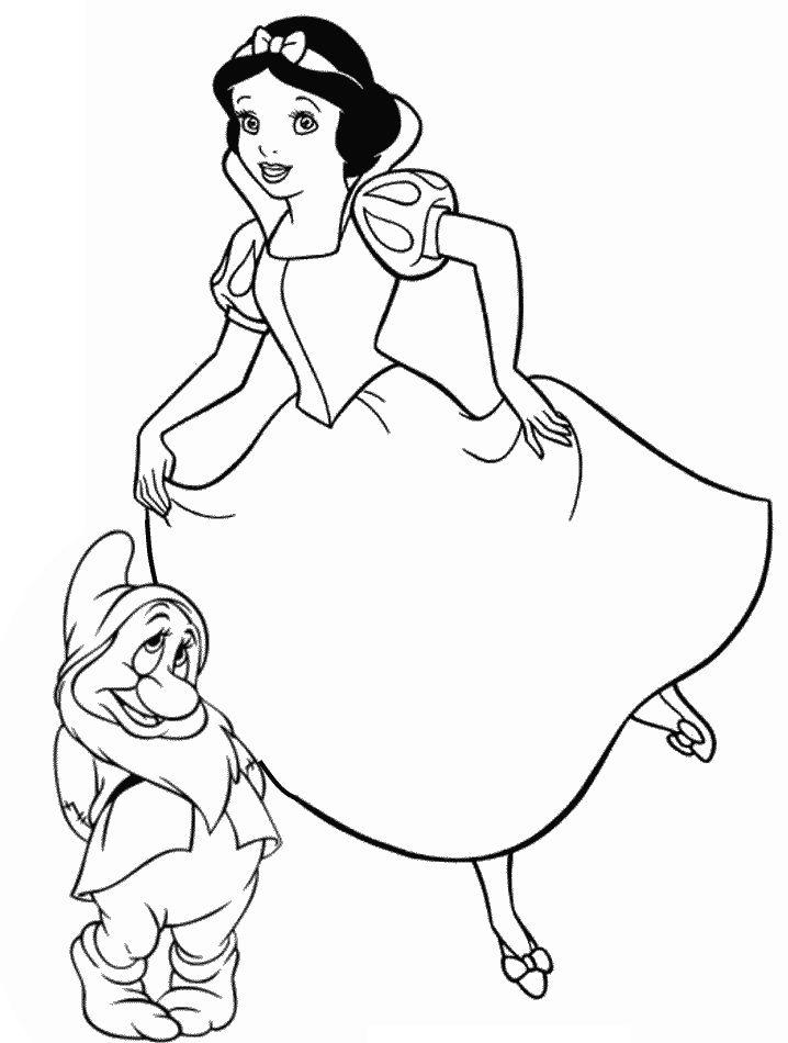 kleurplaat Sneeuwwitje - Sneeuwwitje en Bloosje