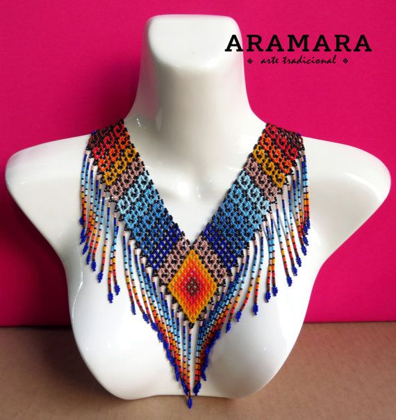 Mexican Huichol Beaded Tribal Necklace COG-0017 Mexican by Aramara