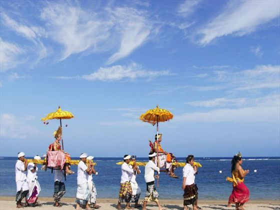 Balinese wedding ceremony on the beach at the Grand Mirage resort and Thalasso Spa, Bali
