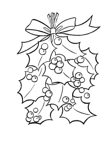 Holly Leaves With Bright Red Berries  Coloring page