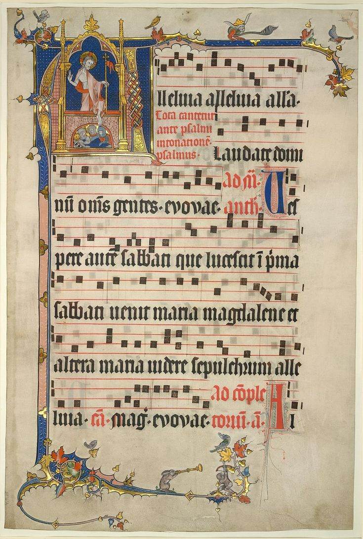 British Library MS Yates Thompson 25, f. 1 Depiction of the resurrection in a historiated initial of a liturgical text with musical notation. It is not long until Easter, and its message of hope from despair.
