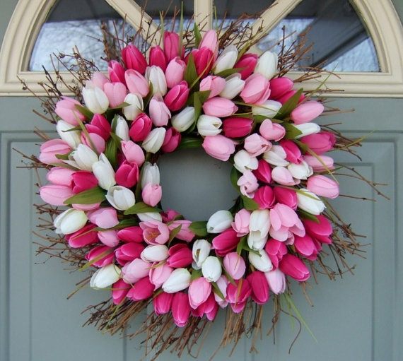 Spring Wreath Spring Tulip Wreath Tulip Door by countryprim