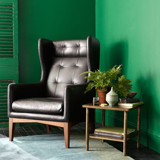 Woods and leather with emerald accents, that's my jam. - James Harrison Wing Chair - Leather   west elm