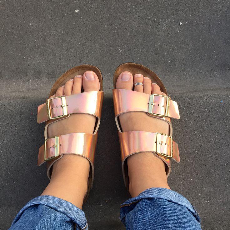 Copper birkenstocks trend style