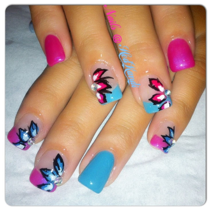 pink and blue gel nails with flowers
