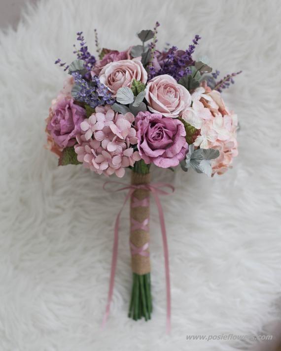 Costo Bouquet Sposa.Diametro 9 Boho Mauve Paper Bridal Bouquet Mauve Rose