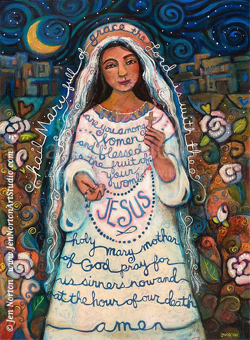 Hail Mary Folk Art Painting by Jen Norton. Art Prints available here: http://www.etsy.com/listing/158509769/hail-mary-art-print?ref=shop_home_active