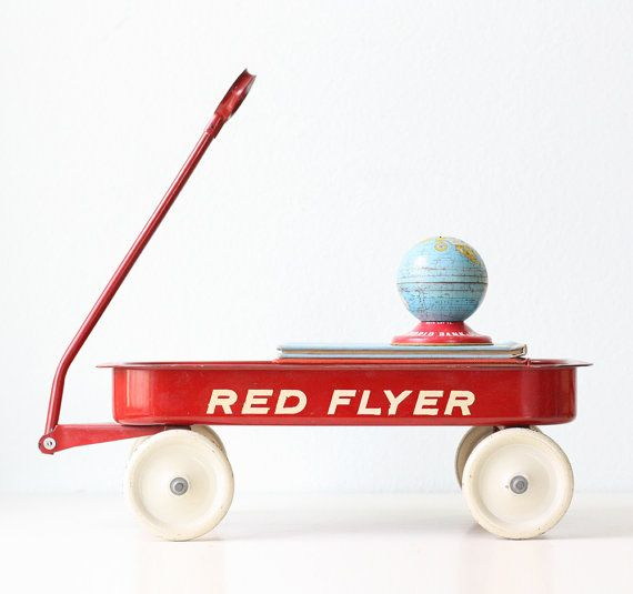 Vintage Red Flyer Wagon, Red Toy Wagon