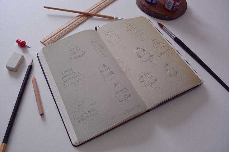 Work in progress #wip #bakery  #sketch #illustration #art #artist #illustrator #cake #cupcake #brainstorming #brandidentity #behance #dribbble #notebook #moleskine