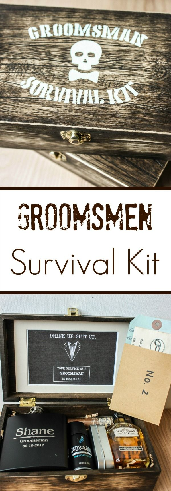 Rustic wooden DIY Groomsmen boxes: Groomsmen Survival Kits stuffed with everything your groomsmen will need on the day of and day after your wedding | therusticwillow.com